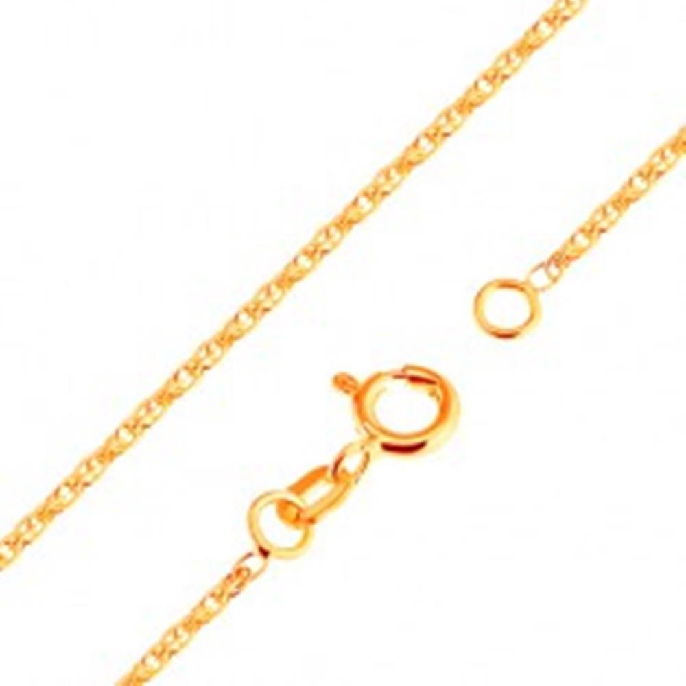 Šperky eshop Ligotavá retiazka zo žltého 18K zlata - ligotavé prepojené oválne očká, 500 mm