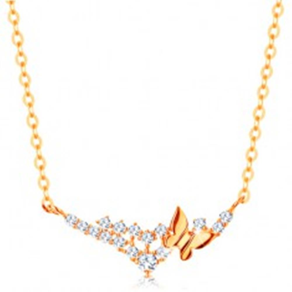 Šperky eshop Náhrdelník v žltom 14K zlate - retiazka z oválnych očiek, motýľ a číre zirkóniky