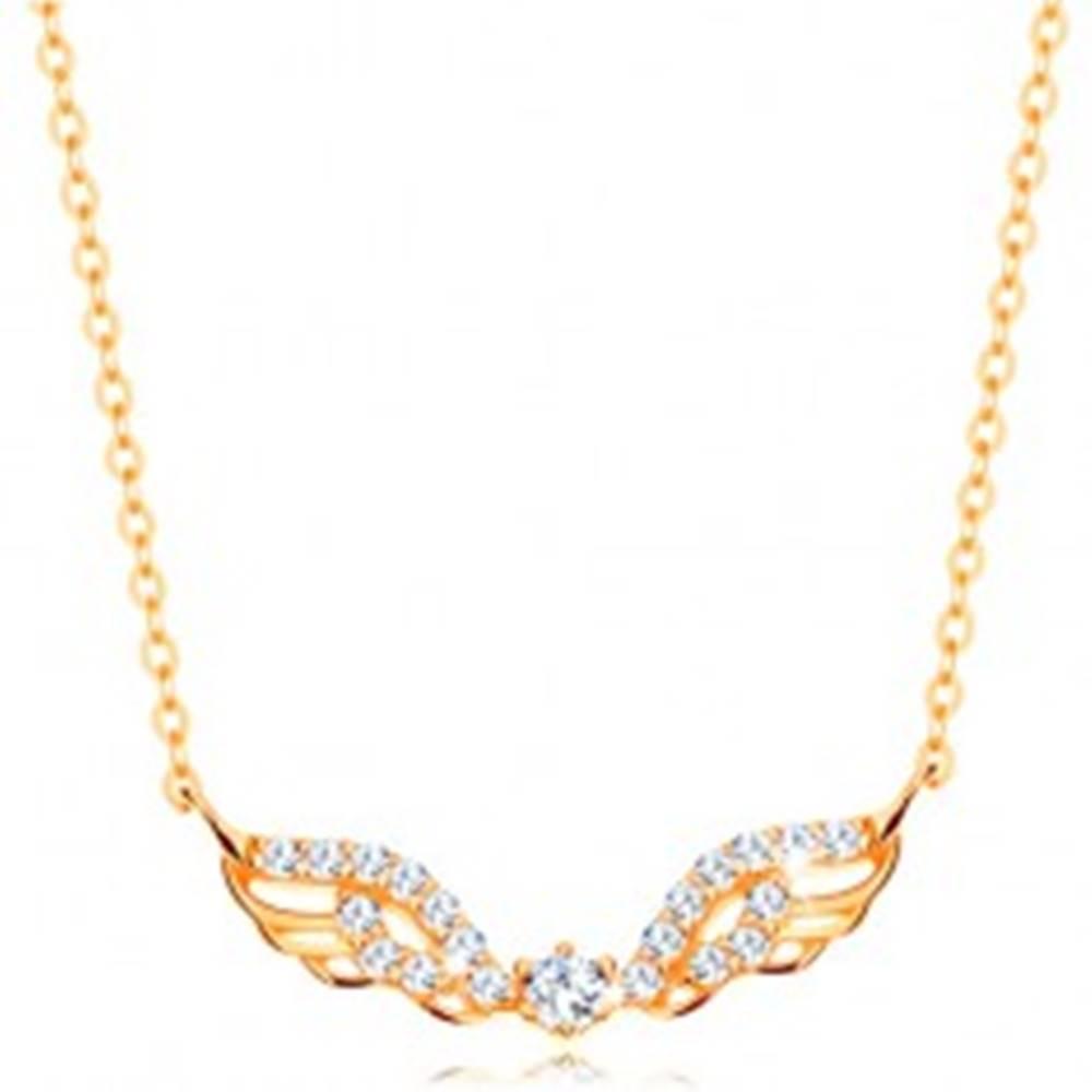 Šperky eshop Náhrdelník zo žltého 14K zlata - anjelské krídla zdobené čírymi zirkónmi