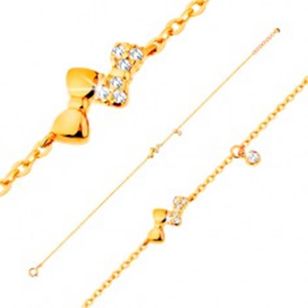 Šperky eshop Náramok v žltom 14K zlate - dve ligotavé mašličky a číry zirkónik, retiazka