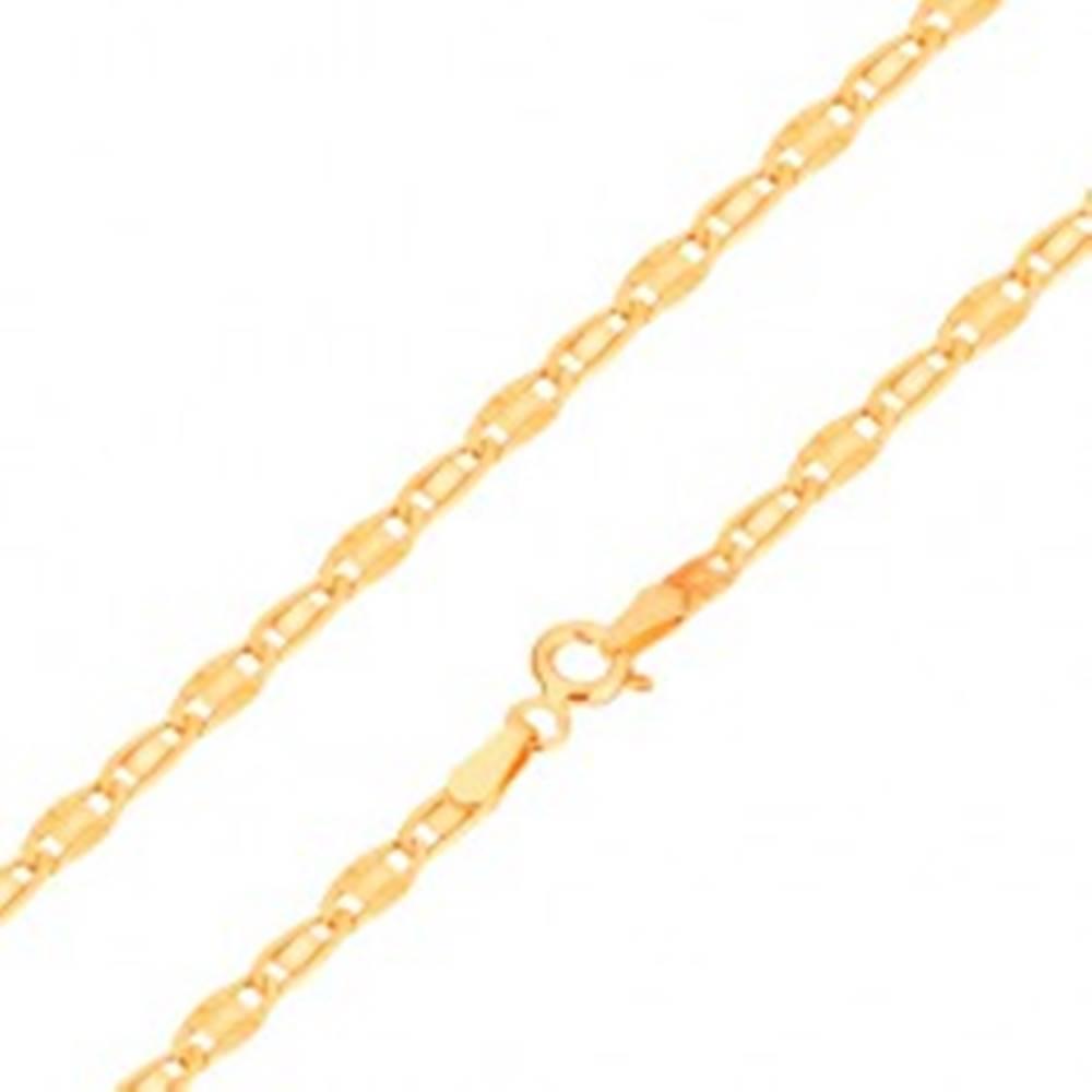 Šperky eshop Náramok v žltom 14K zlate, hladký a lúčovitý článok, 190 mm