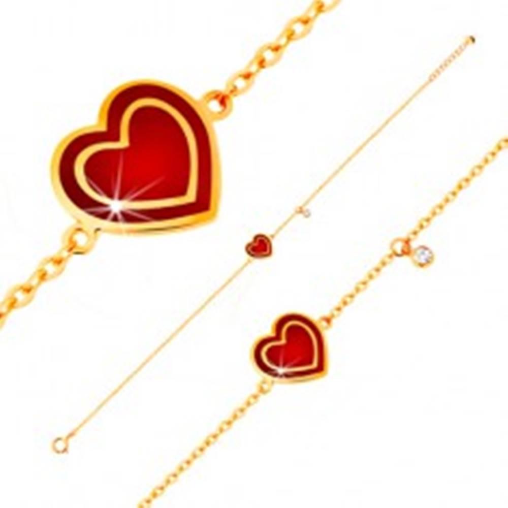Šperky eshop Náramok v žltom 14K zlate, prívesky - srdce s červenou glazúrou, zirkón