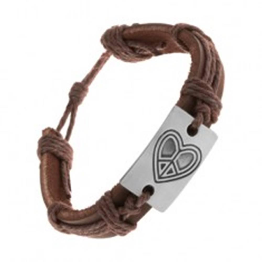 Šperky eshop Náramok z umelej kože hnedej farby, šnúrky, obdĺžnik s vyrytým srdcom
