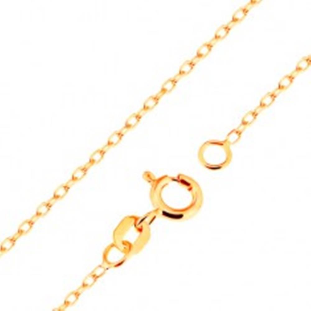 Šperky eshop Retiazka v žltom 18K zlate - hladké oválne očká, vzor Rolo, 500 mm