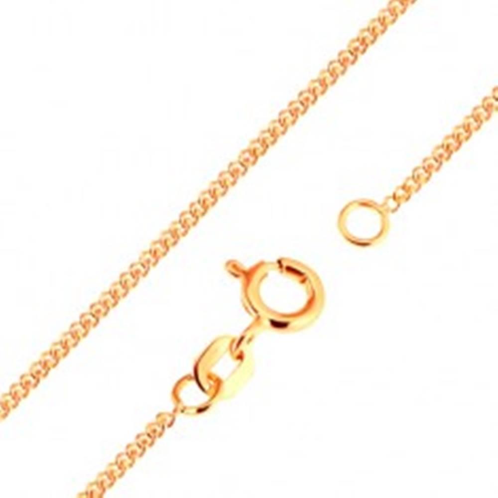 Šperky eshop Retiazka v žltom 18K zlate - husto spájané ploché oválne očká, 500 mm