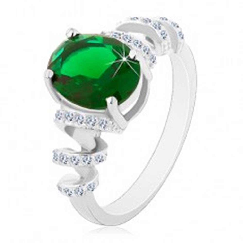 Šperky eshop Zásnubný ródiovaný prsteň, striebro 925, oválny zelený zirkón, ligotavé špirály - Veľkosť: 49 mm