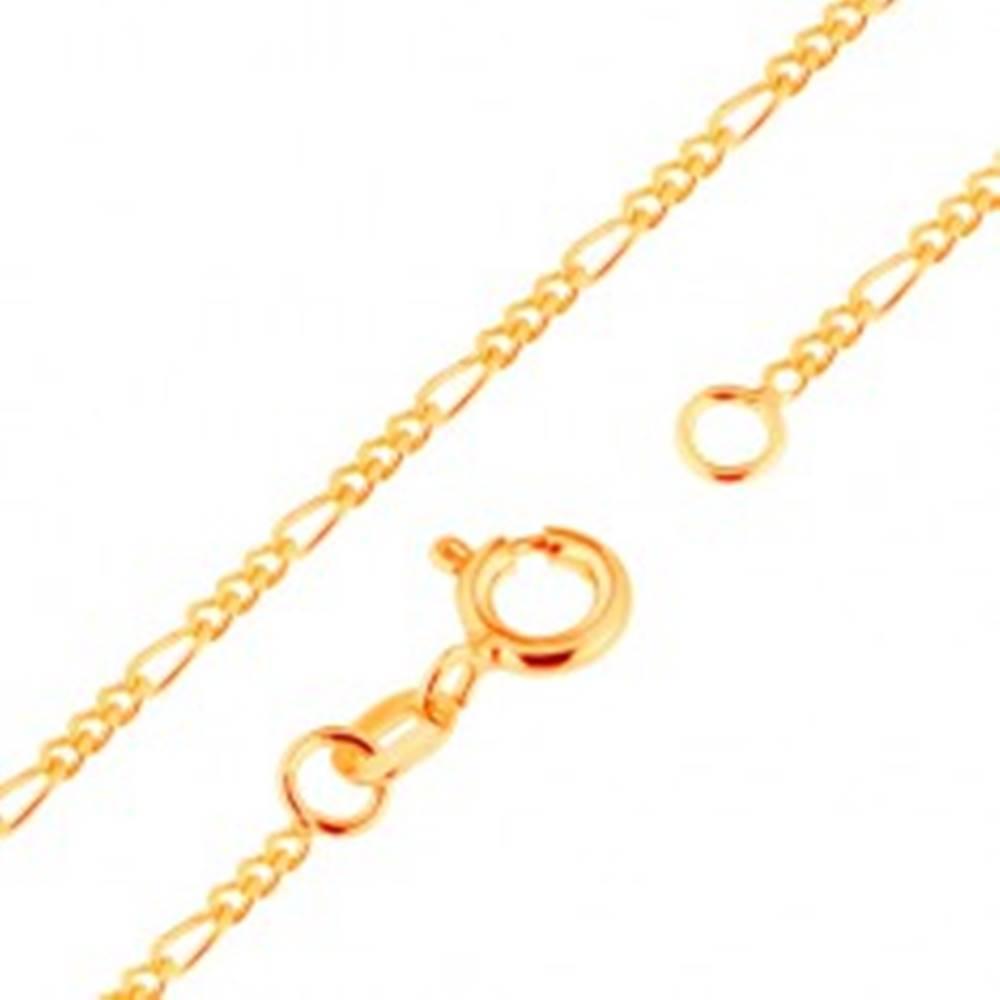 Šperky eshop Zlatá retiazka 9K - vzor Figaro, tri oválne a jedno podlhovasté očko, 500 mm