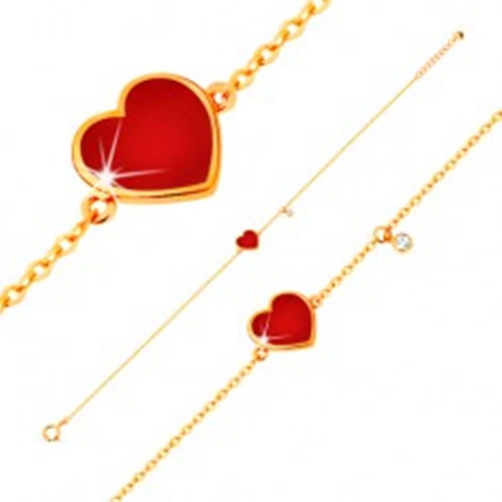Šperky eshop Zlatý 14K náramok - červené glazúrované srdce a číry zirkónik, tenká retiazka, 180 mm