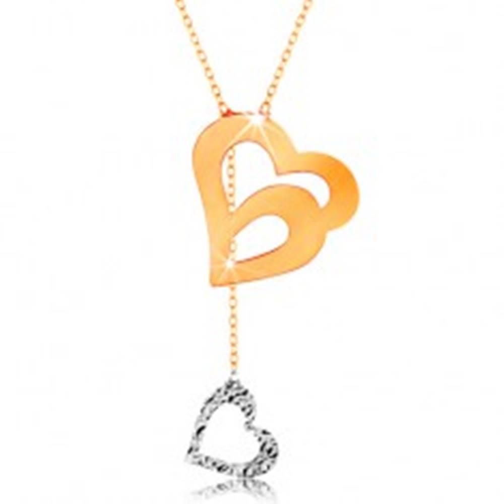 Šperky eshop Zlatý náhrdelník 585 - jemná retiazka, dvojitá kontúra srdca a visiace srdiečko