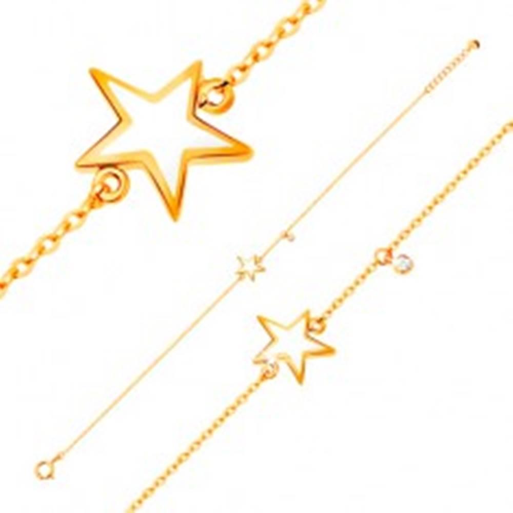 Šperky eshop Zlatý náramok 585 - biela glazúrovaná hviezdička, zirkón čírej farby