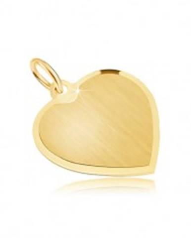 Zlatý prívesok 585 - pravidelné srdce so saténovým povrchom, skosená obruba
