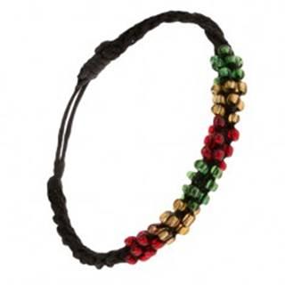 Náramok so špirálovým vzorom, čierna šnúrka, farebné korálky