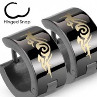 Okrúhle čierne oceľové náušnice, abstraktný ornament