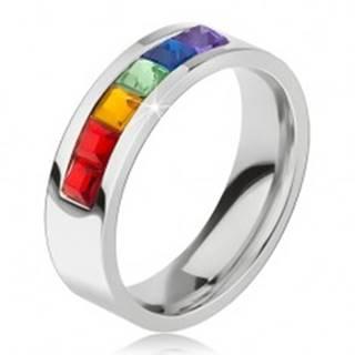 Prsteň z chirurgickej ocele, pás z farebných štvorcových kamienkov - Veľkosť: 49 mm