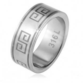 Prsteň z ocele 316L, matný povrch, vzor gréckeho kľúča - Veľkosť: 56 mm