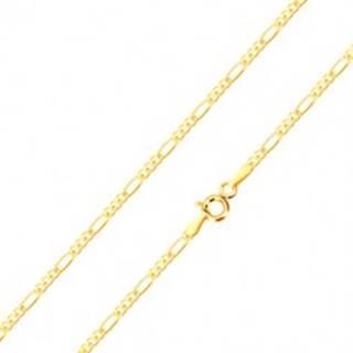 Retiazka zo žltého 14K zlata, tri drobné a jedno podlhovasté očko, 550 mm