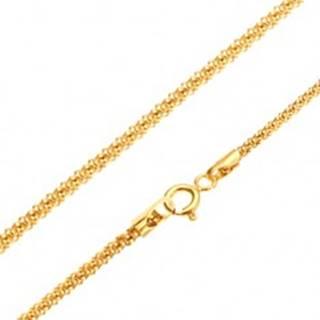 Zlatá retiazka 585 - lesklý štrukturovaný hadí vzor, okrúhly prierez, 520 mm