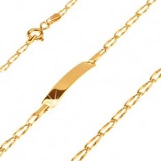 Zlatý 14K náramok s platničkou - podlhovasté lúčovito ryhované očká