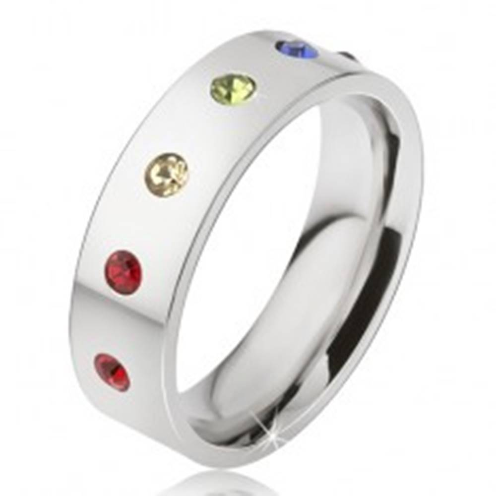 Šperky eshop Lesklá oceľová obrúčka, šesť farebných okrúhlych kamienkov - Veľkosť: 49 mm