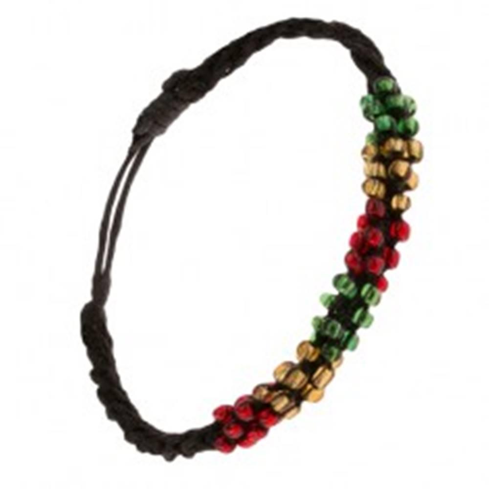 Šperky eshop Náramok so špirálovým vzorom, čierna šnúrka, farebné korálky