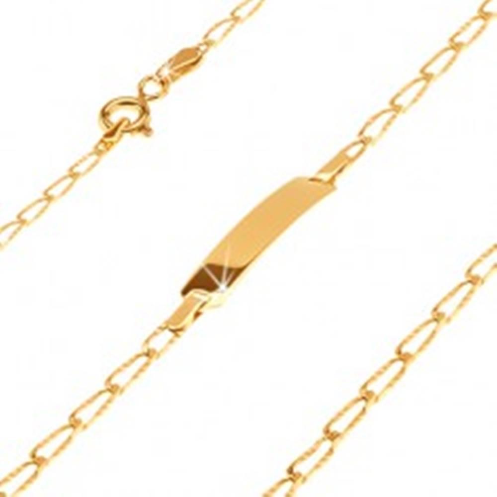 Šperky eshop Náramok v žltom 14K zlate s platničkou - podlhovasté očká s ryhami, 180 mm