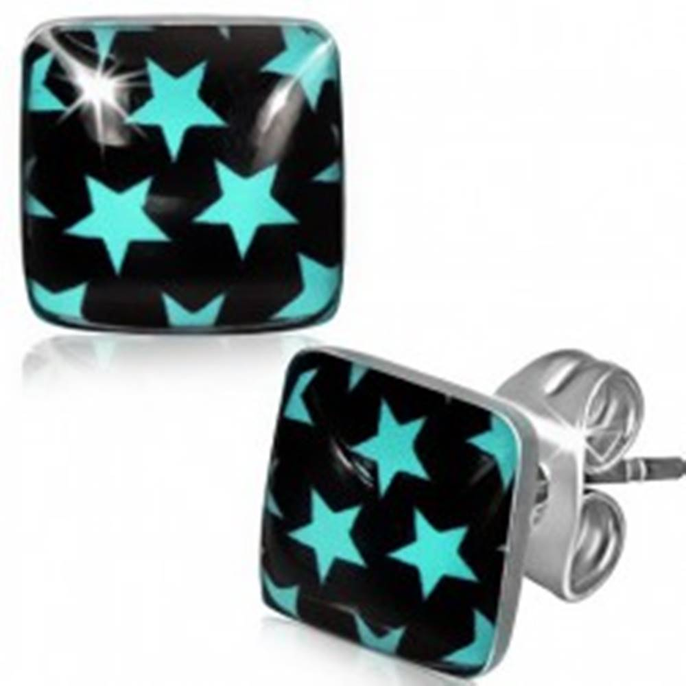 Šperky eshop Náušnice z ocele, čierne štvorce s modrými hviezdami
