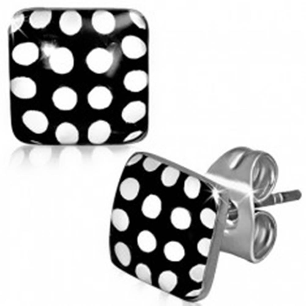 Šperky eshop Náušnice z ocele, čierno-biele bodkované štvorce