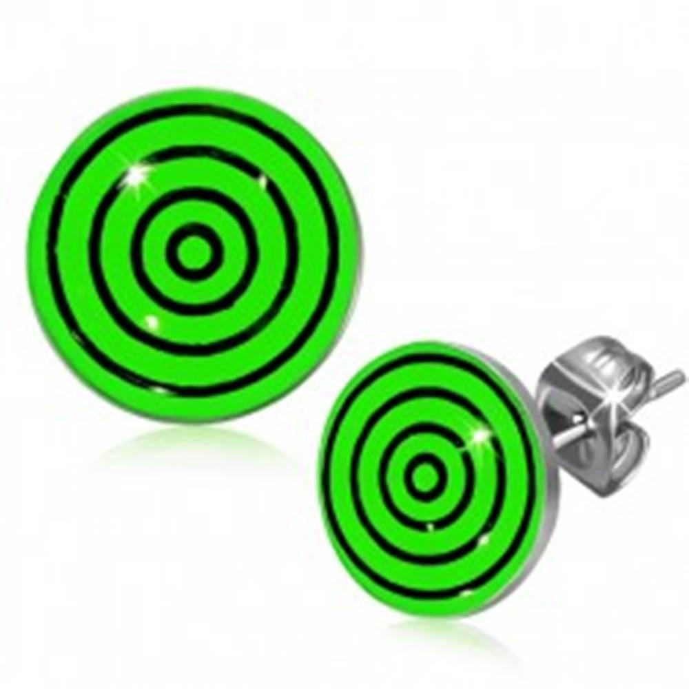 Šperky eshop Oceľové náušnice, čierne a zelené kružnice pod glazúrou