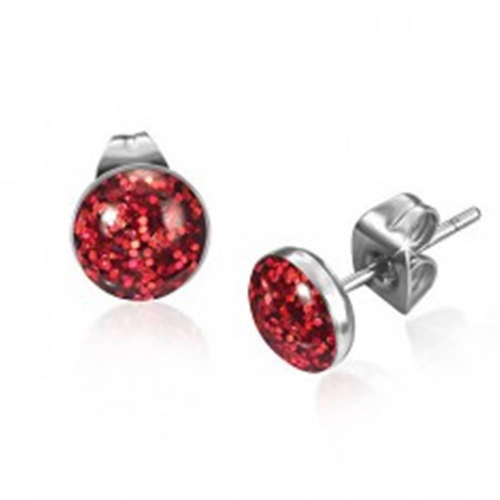 Šperky eshop Okrúhle oceľové náušnice, červené trblietky pod glazúrou