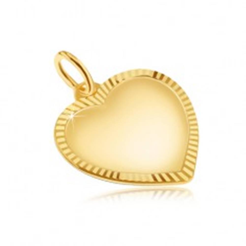 Šperky eshop Prívesok v žltom 14K zlate - matné symetrické srdce, ryhovaný okraj