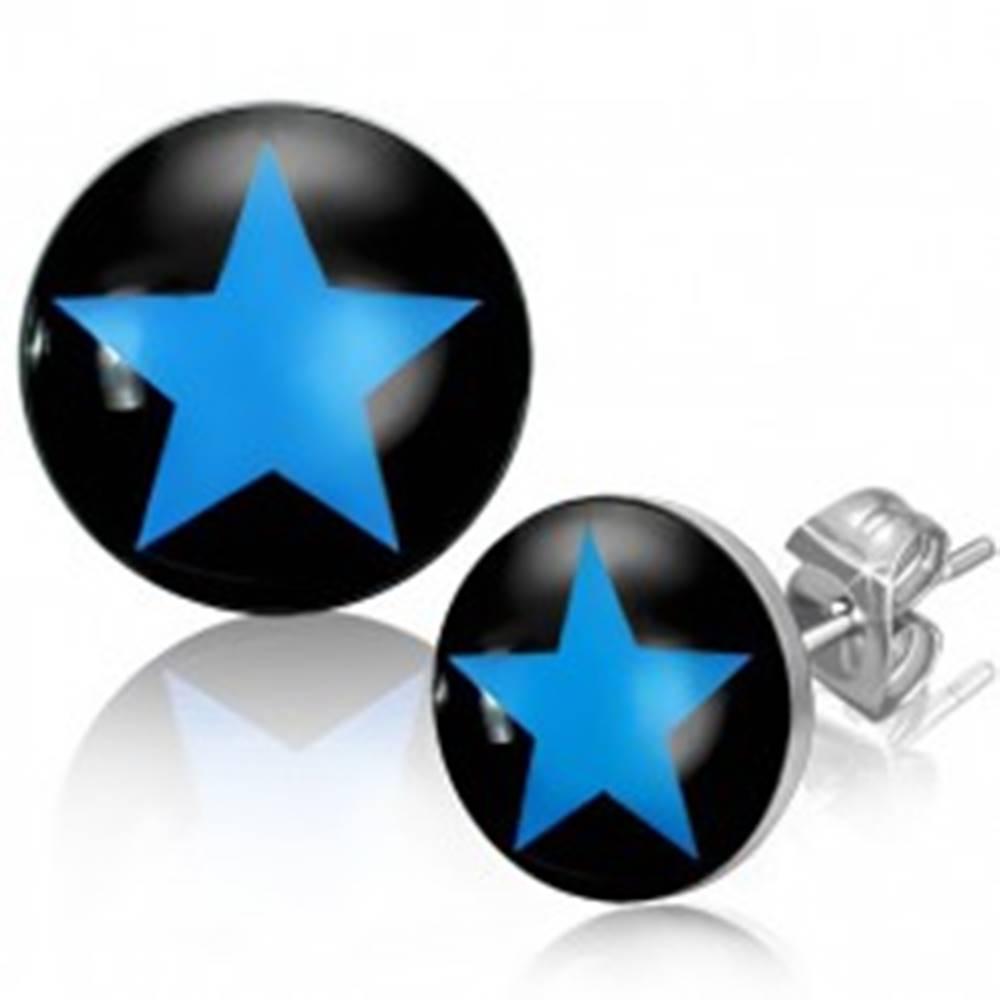 Šperky eshop Puzetové náušnice z ocele, modrá hviezda na čiernom podklade