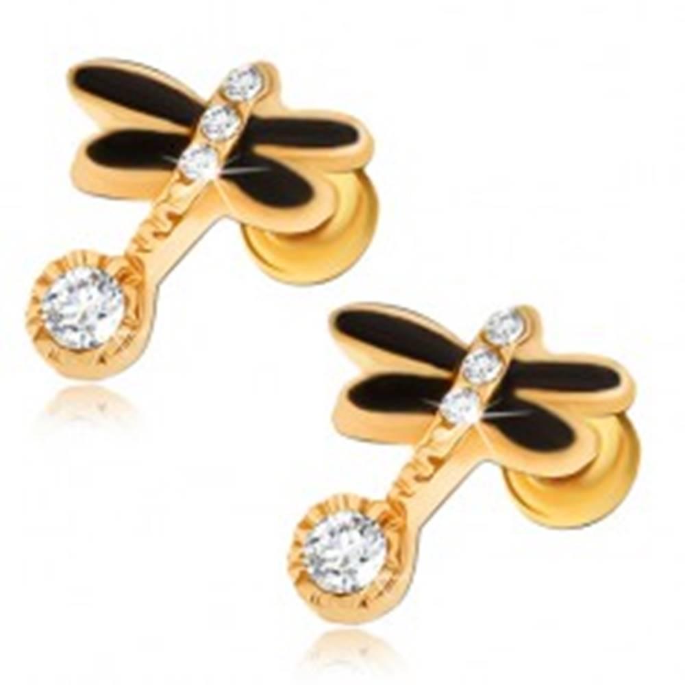 Šperky eshop Puzetové náušnice zlatej farby, čierna vážka, číre kamienky
