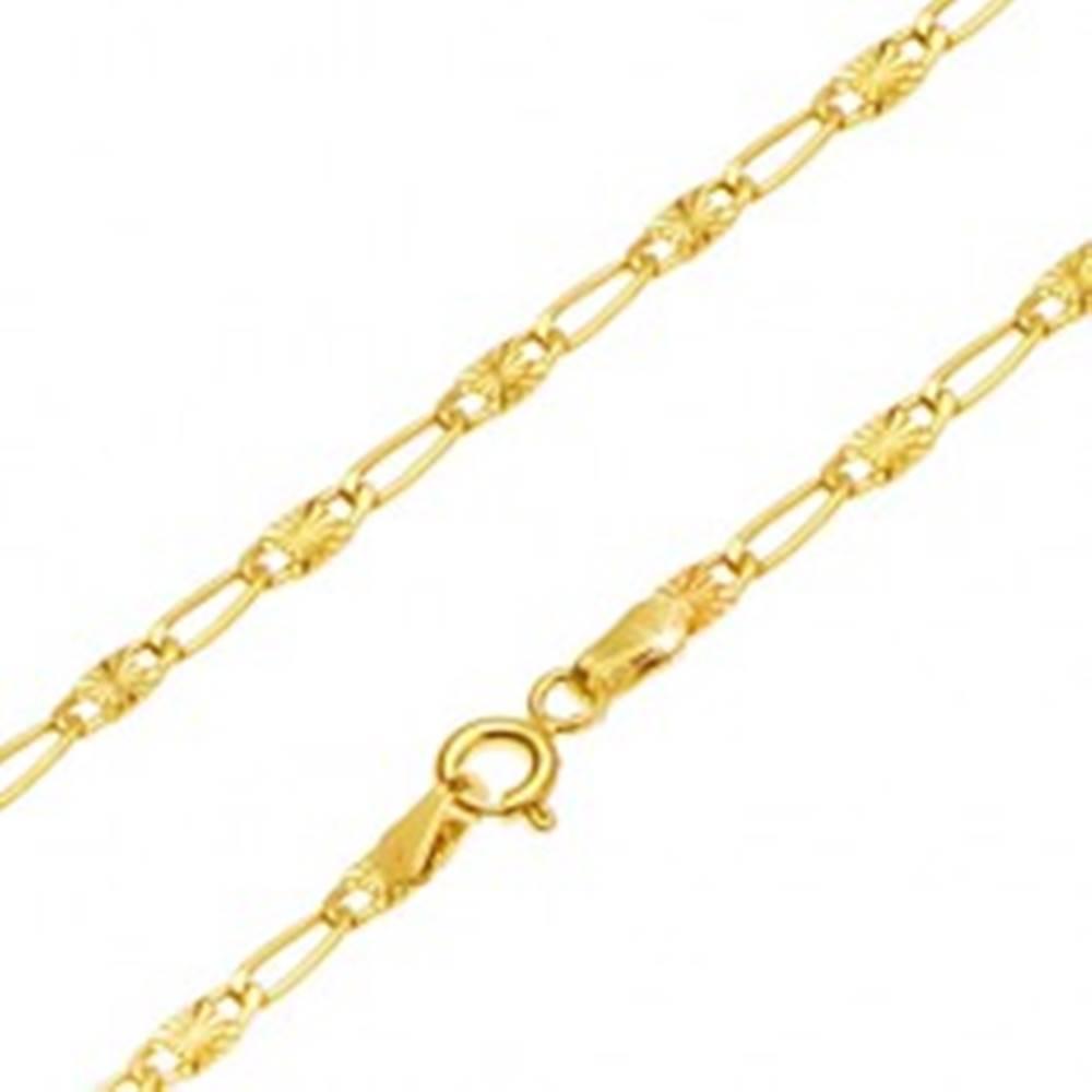 Šperky eshop Retiazka v žltom 14K zlate - dlhé očko, článok s lúčovitým ryhovaním, 500 mm