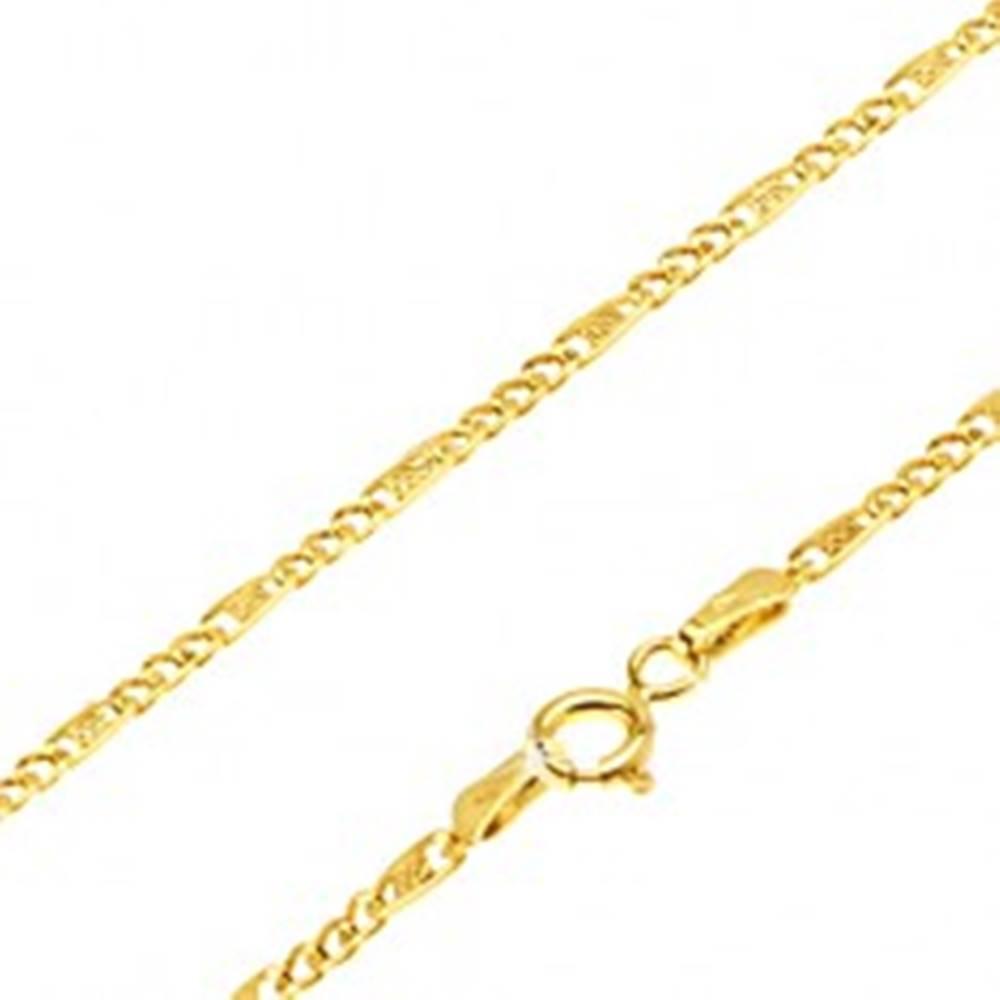 Šperky eshop Retiazka zo žltého 14K zlata - malé očká, článok s mriežkou, 500 mm