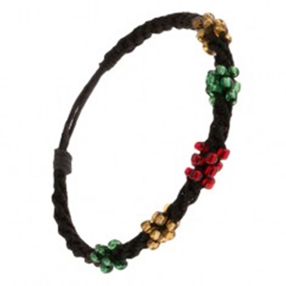 Šperky eshop Špirálový náramok z čiernych šnúrok, korálky troch farieb