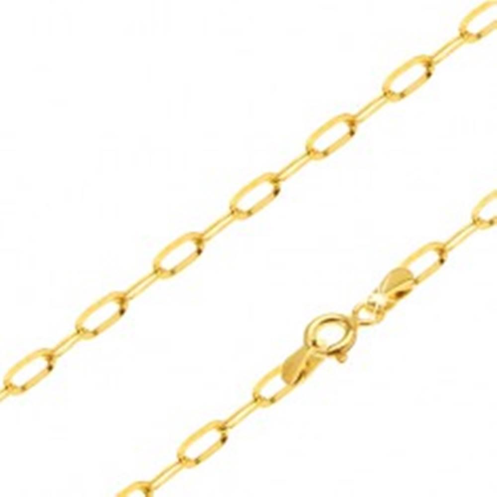 Šperky eshop Zlatá retiazka 585 - ligotavé podlhovasté hladké očká, 500 mm