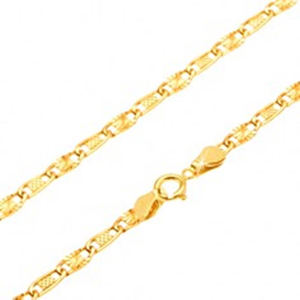Šperky eshop Zlatá retiazka 585 - mriežkovaný a lúčovitý článok, 500 mm