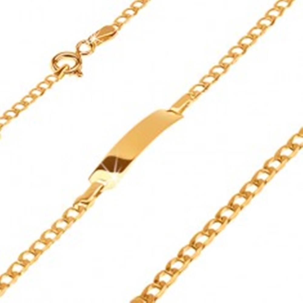 Šperky eshop Zlatý 585 náramok s platničkou - ligotavé drobné oválne očká, 180 mm