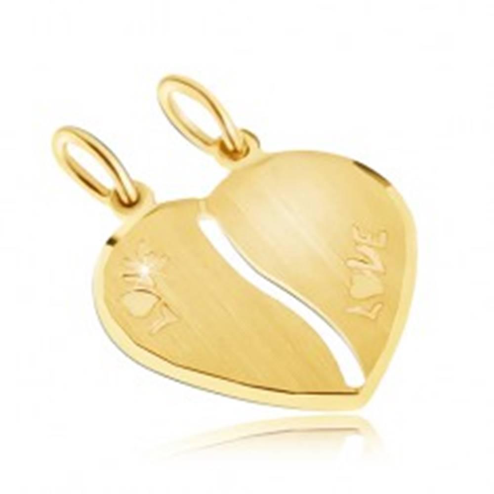 Šperky eshop Zlatý dvojprívesok 585 - saténové srdce, nápis LOVE, podlhovastý výrez