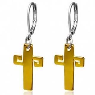 Oceľové náušnice zlatej farby, kríž s gréckym kľúčom