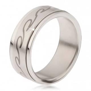 Prsteň z chirurgickej ocele - matná točiaca sa obruč, potlač zaoblených vĺn - Veľkosť: 57 mm