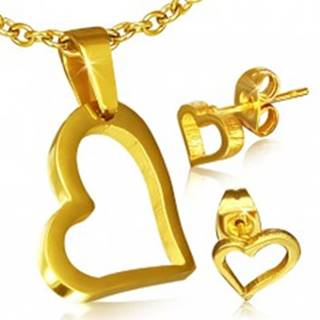 Set zlatej farby z chirurgickej ocele - náušnice a prívesok, nepravidelný obrys srdca