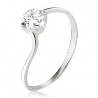 Strieborný prsteň 925 - číry zirkón v kotlíku, jemne zvlnené ramená - Veľkosť: 49 mm