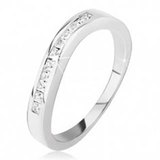 Strieborný prsteň 925 - mierne zvlnený, drobné štvorcové zirkóniky - Veľkosť: 48 mm