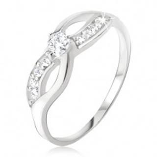 Strieborný prsteň 925 - symbol nekonečna, zirkónová línia, okrúhly kamienok - Veľkosť: 48 mm