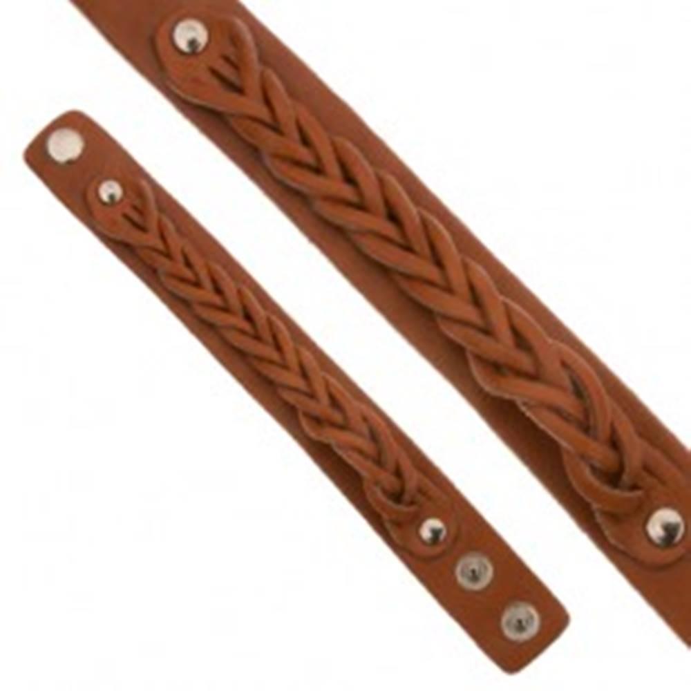 Šperky eshop Karamelovohnedý kožený náramok, pletený vrkočový pás