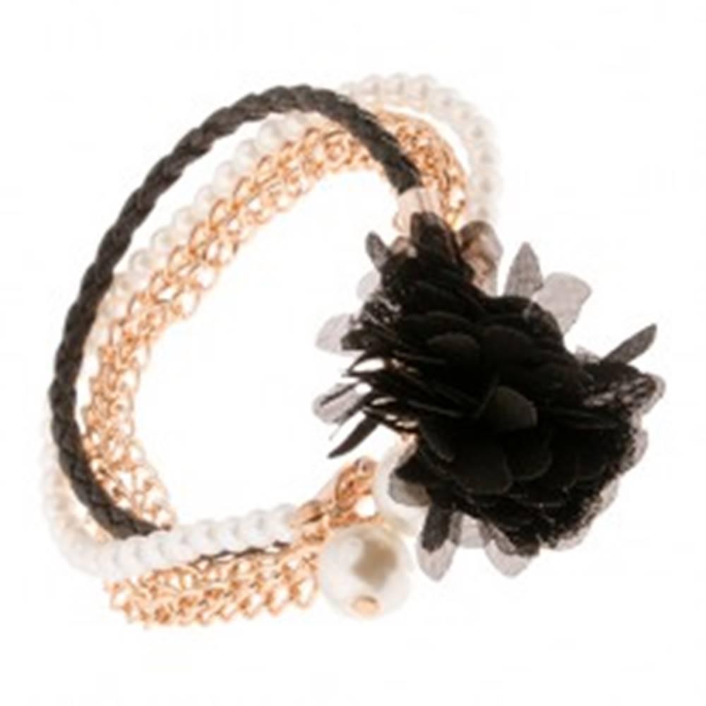Šperky eshop Multináramok - čierny pletenec, retiazky zlatej farby, korálky, čierny kvet
