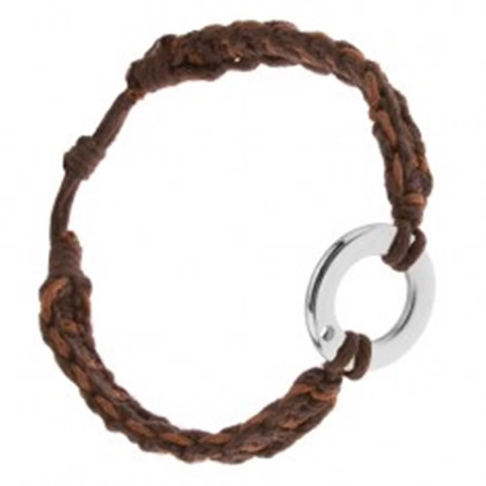Šperky eshop Náramok z orieškových a čokoládových šnúrok, kruhový prívesok