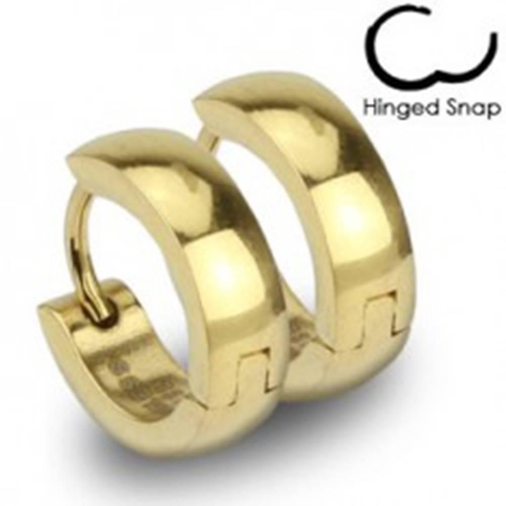 Šperky eshop Oceľové náušnice - krúžky zlatej farby s lesklým hladkým povrchom