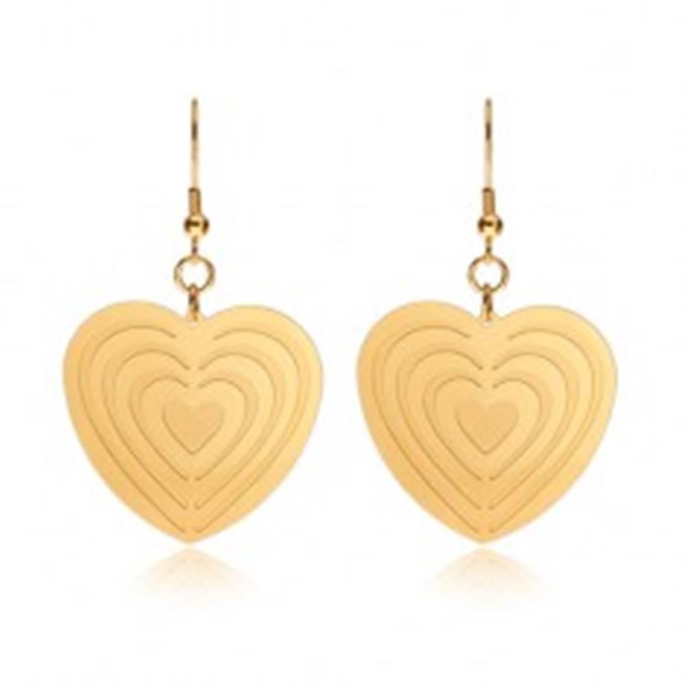Šperky eshop Oceľové náušnice zlatej farby, symetrické srdcia so zárezmi